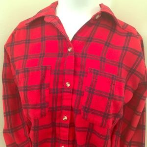 Hollister Red Button Down Flannel